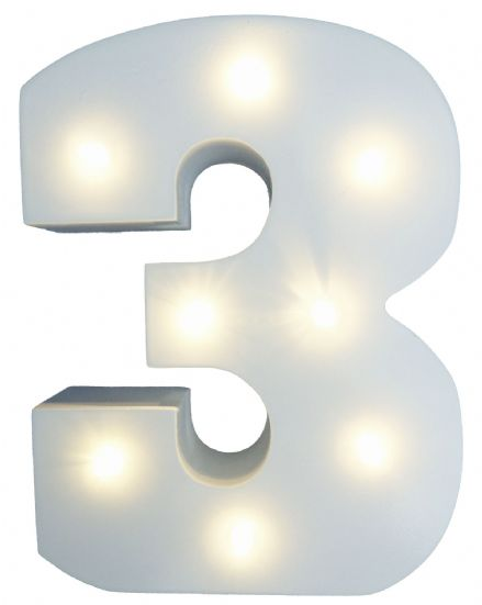 White Wooden Light Up Number 3